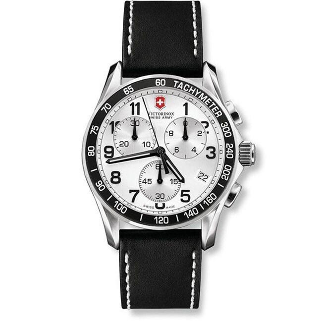 Swiss Army Mens Chrono Classic Black Leather Strap Watch