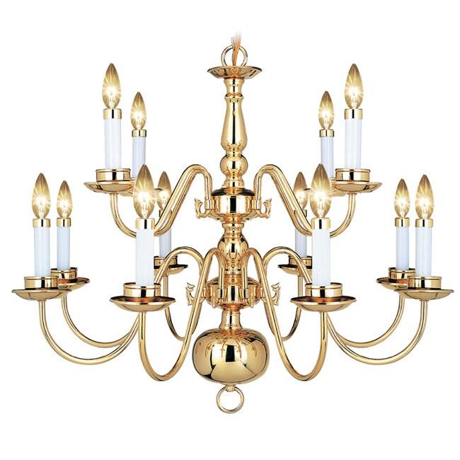 Woodbridge Lighting Williamsburg 12-light Polished Bronze Chandelier