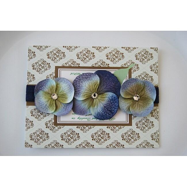 Denim Blue Triple Dainty Crystal Flowers Headband
