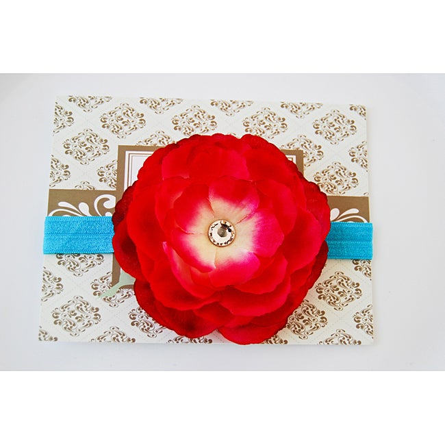 Fuchsia and Turquoise Designer Flower Headband