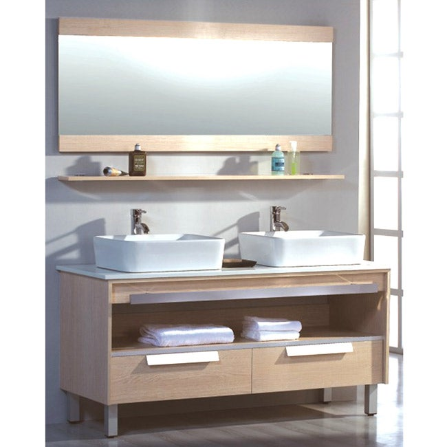 ceramic top 55 5 inch double sink bathroom vanity 13745520 shopping great. Black Bedroom Furniture Sets. Home Design Ideas