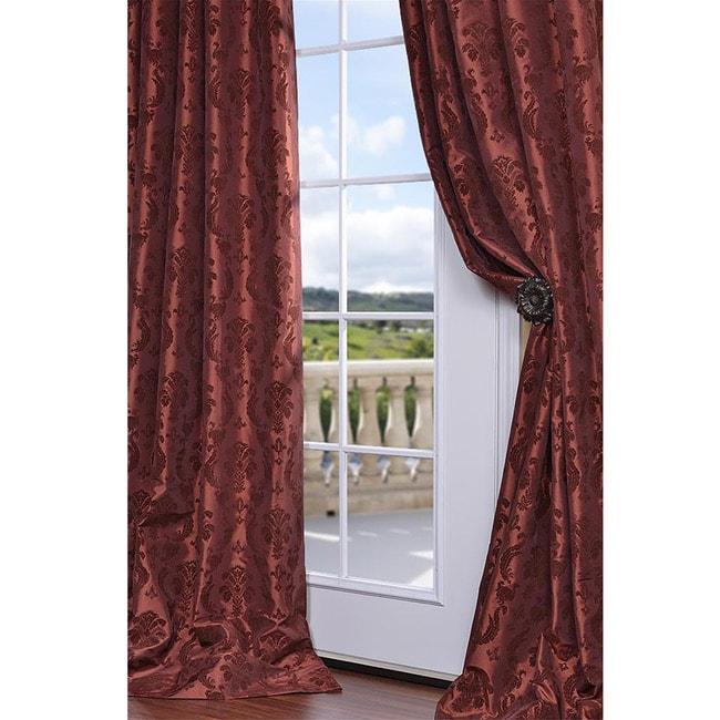 Flocked Renaissance Paprika Faux Silk 108-inch Curtain Panel