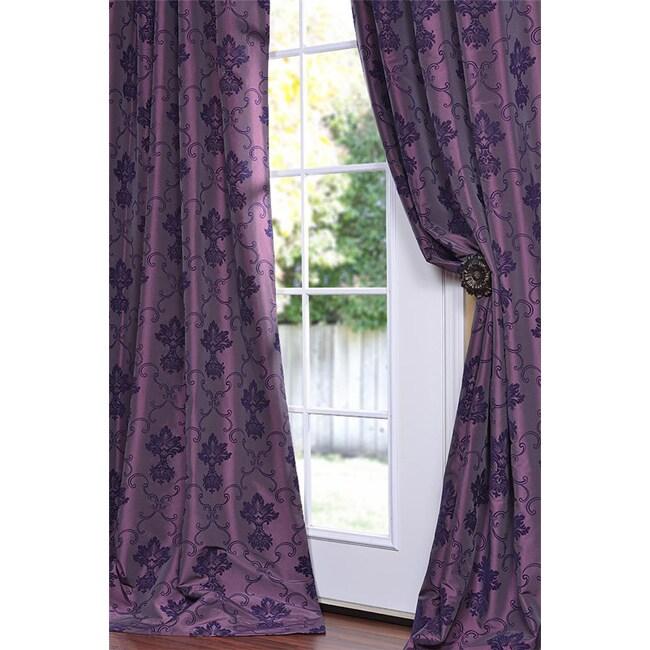 Flocked Fiori Dahlia Faux Silk 120-inch Curtain Panel