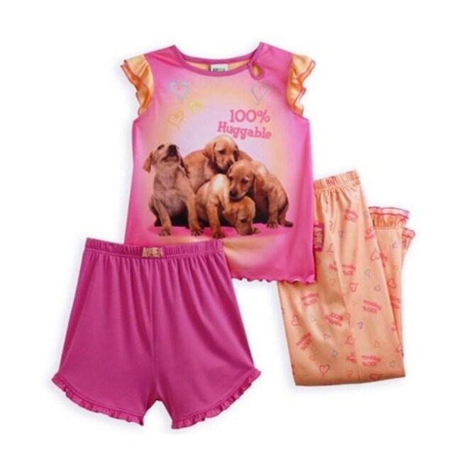 Saramax Animal Planet Girl's 3-piece Puppies Pajama Set