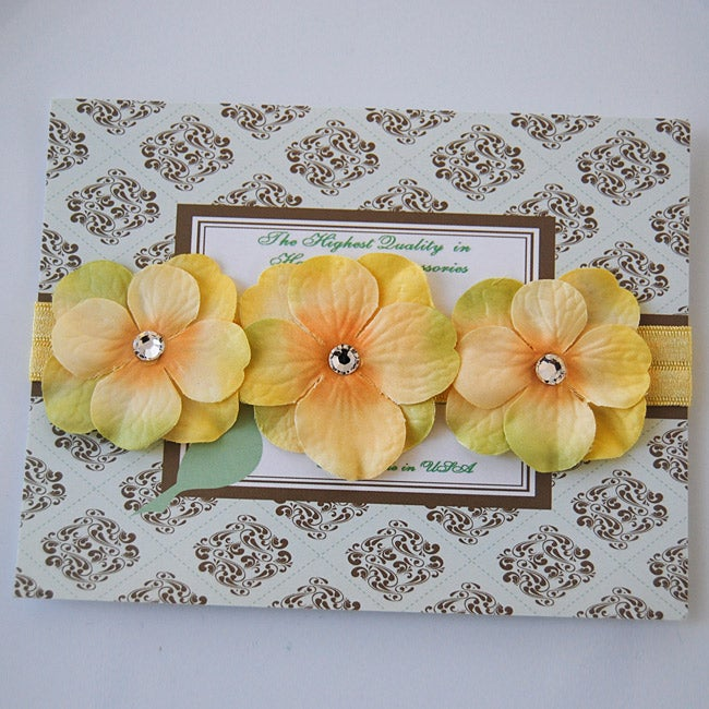 Yellow Triple Dainty Crystal Flowers Headband