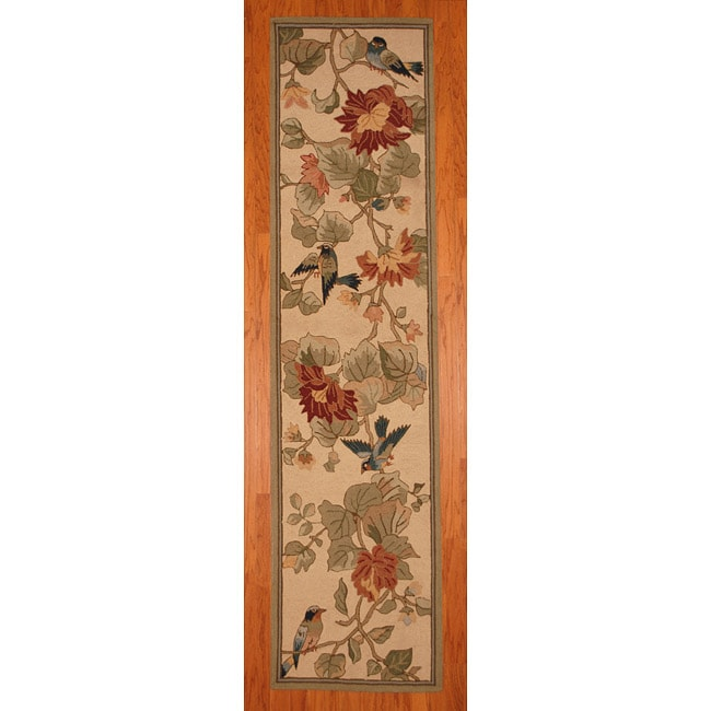 Herat Oriental Asian Hand-tufted Beige/ Green Floral Bird Wool Rug (2'8 x 10')
