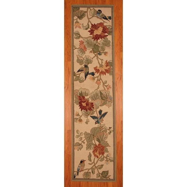 Asian Hand-tufted Beige/ Green Floral Bird Wool Rug (2'8 x 10')