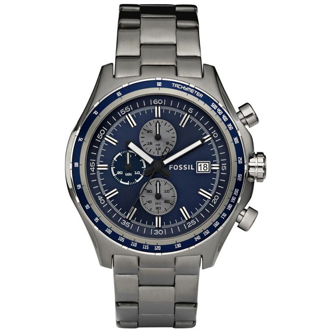 Fossil Men's 'Dylan' Blue Dial Chronograph Stainless Steel Watch