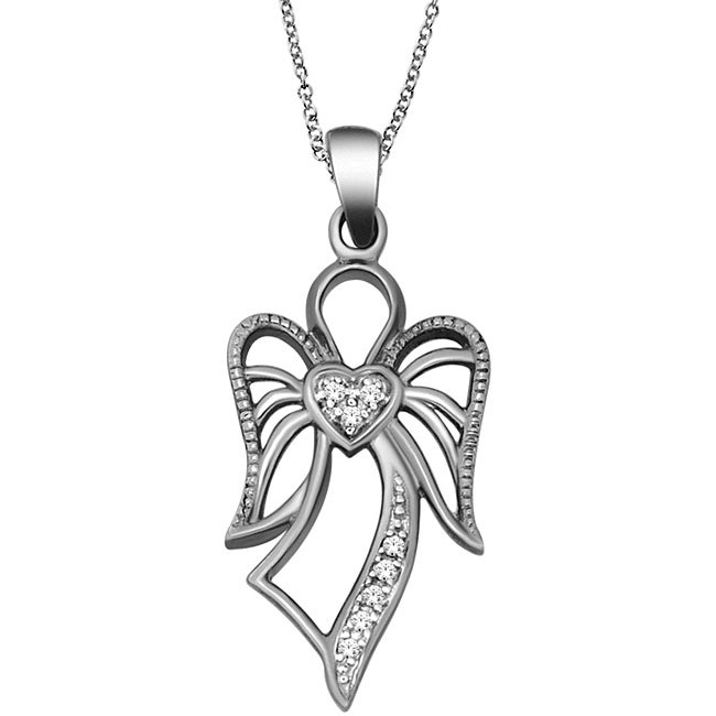 Eziba Collection 10k White Gold Diamond Accent Angel Necklace at mygofer.com