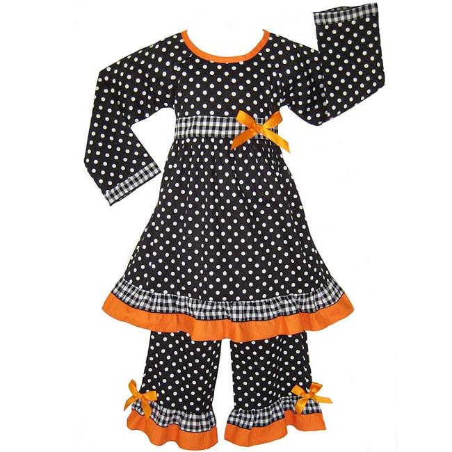 Ann Loren Black/Orange Polka Dot/Gingham Set