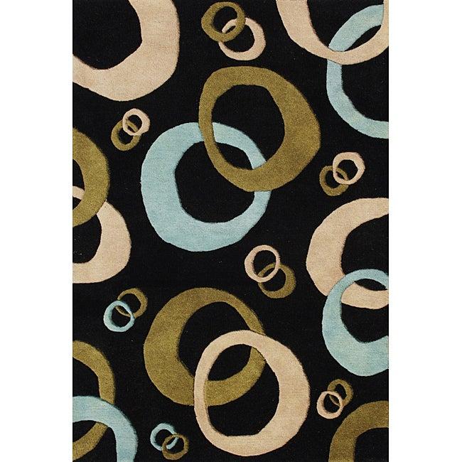 Hand-tufted Black Wool Rug (8' x 10')