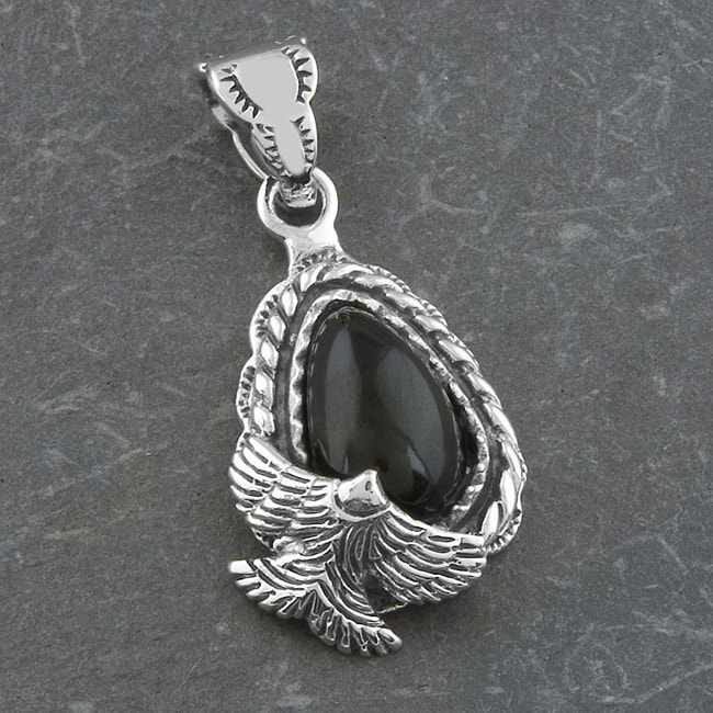 Sterling Silver 'Flying Bird' Black Onyx Pendant (Thailand)