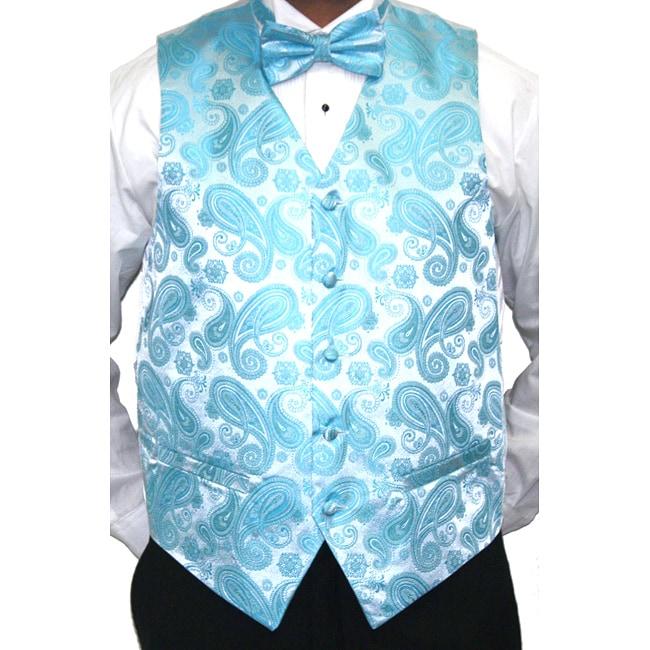 Ferrecci Men's Turquoise Paisley Printed Four-Piece Vest Set