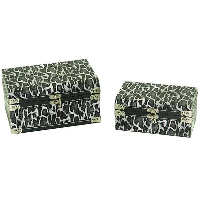 Faux Leather Jewelry & Keepsake Box in Black & White (Set of 2)