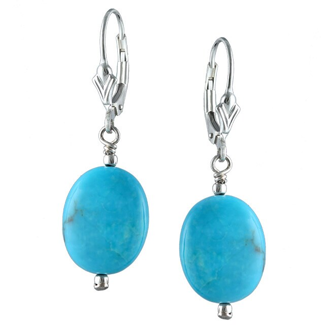 Silvermoon Sterling Silver Oval Turquoise Drop Earrings