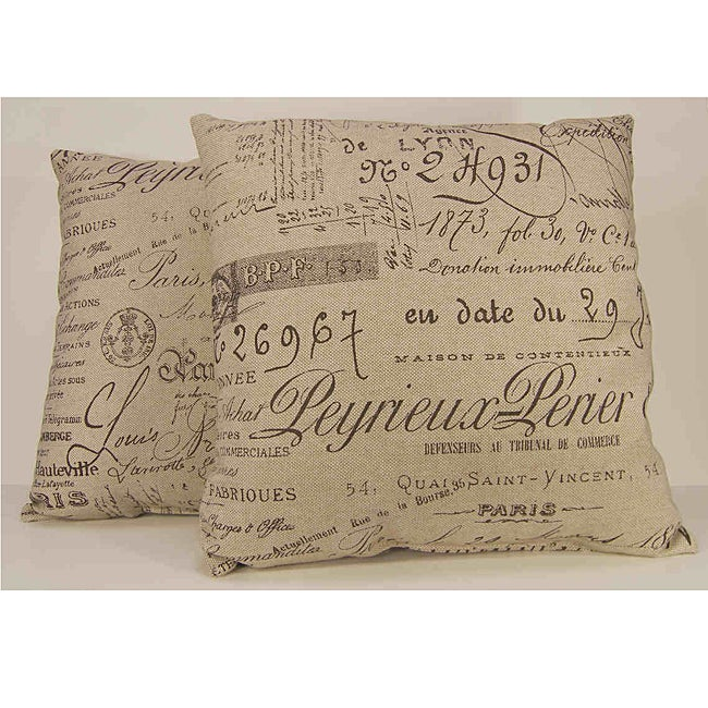 Antique Script Decorative Throw Pillows (Set of 2)