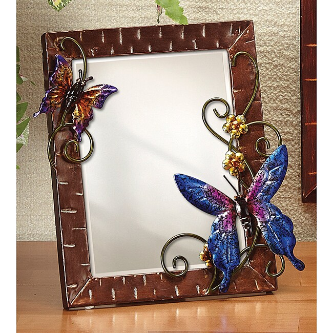 Small Metal Butterflies Table Mirror
