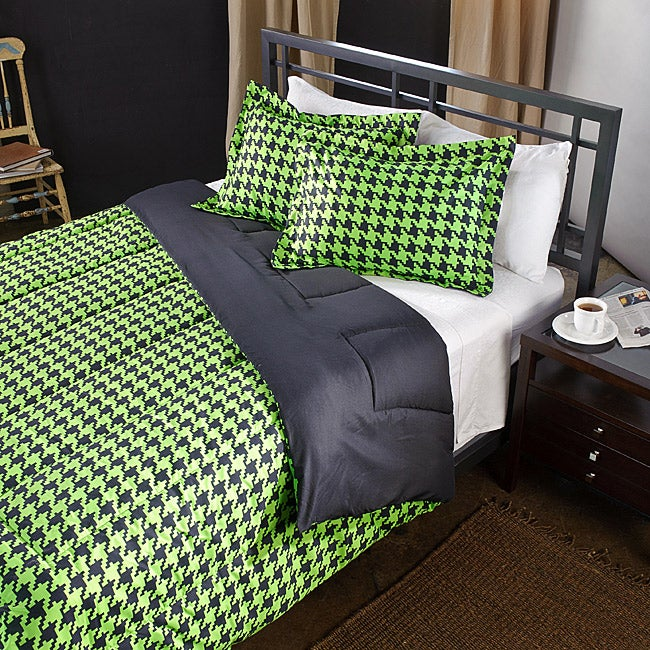 Lime/ Black Houndstooth 2-Piece Twin-size Comforter Set
