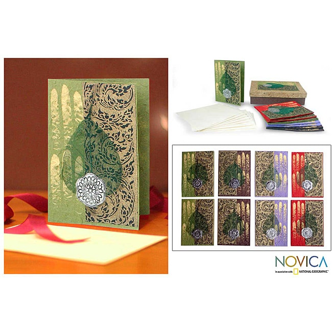 Set of 8 Handcrafted Saa Paper 'Thai Hello' Greeting Cards (Thailand)