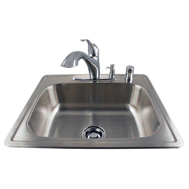 Drop-in Stainless Kitchen Sink and Chrome Faucet Combo - 13796202 ...