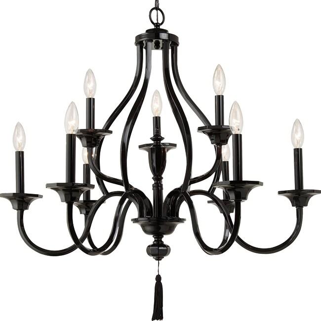 Zaraha Collection 9-light Luxe Gloss Black Chandelier