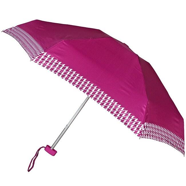 Leighton Purple Houndstooth Auto Compact Umbrella