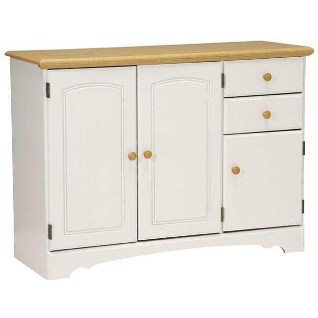 White Kitchen Buffet: New Visions By Lane Kitchen Essentials White/Maple Buffet