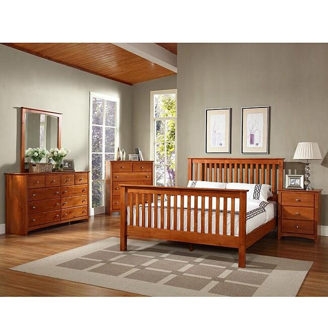 Shaker Alder Wood 4-piece King-size Bedroom Set
