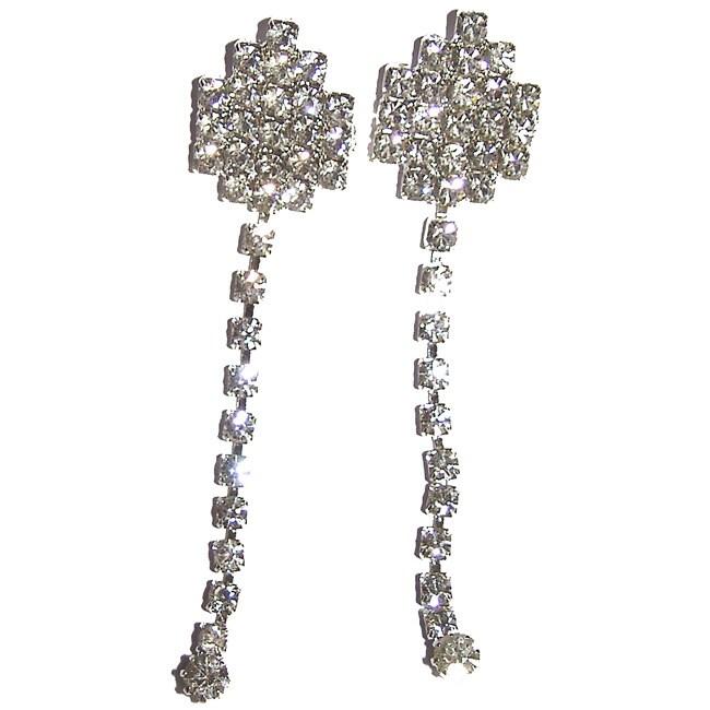 Detti Originals Silvertone Clear Crystal Clip Dangle Earrings