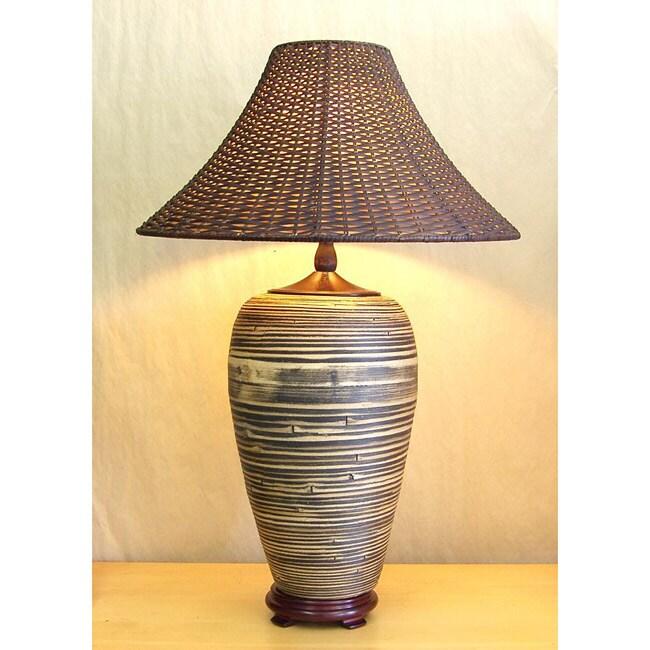 Bamboo Oval Table Lamp: Black And Tan Dark Wicker Shade Bamboo Table Lamp