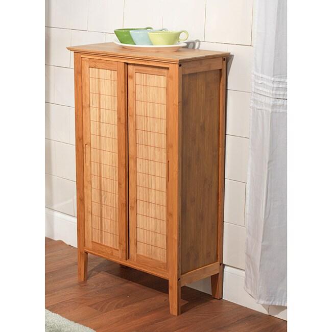 Simple Living Sliding Door Bamboo Linen Floor Cabinet