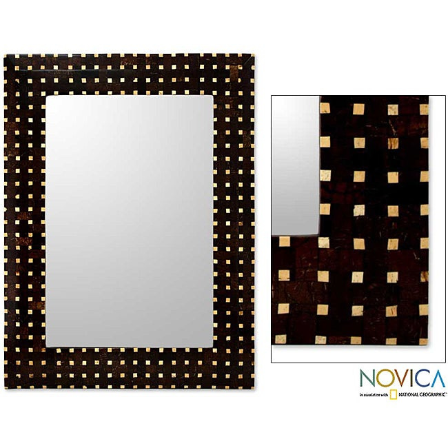 Handcrafted Coconut Shell 'Points of Light' Wall Mirror (Indonesia)