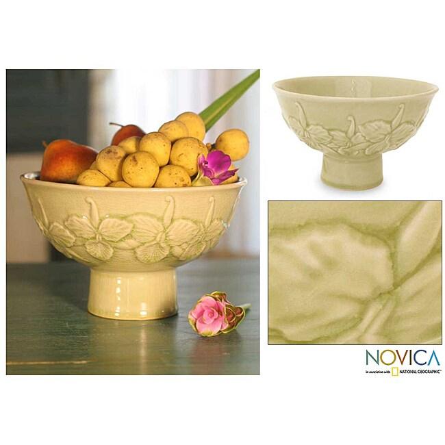Ceramic 'Green Orchid' Celadon Bowl (Thailand)