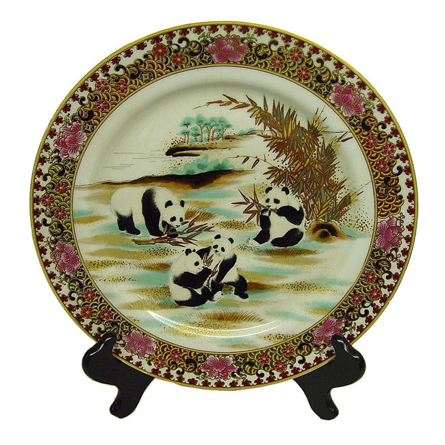 Panda Frolic Porcelain Plate with Wood Stand