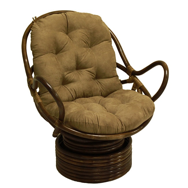 Rattan Coil Base Swivel Rocker Chair with Cushion
