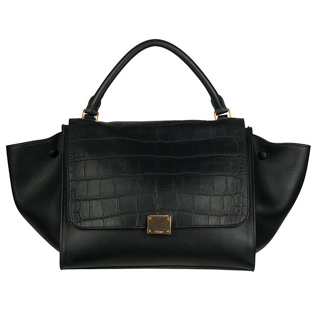 Celine Black Leather Trapeze Shoulder Bag - 13818684 - Overstock ...