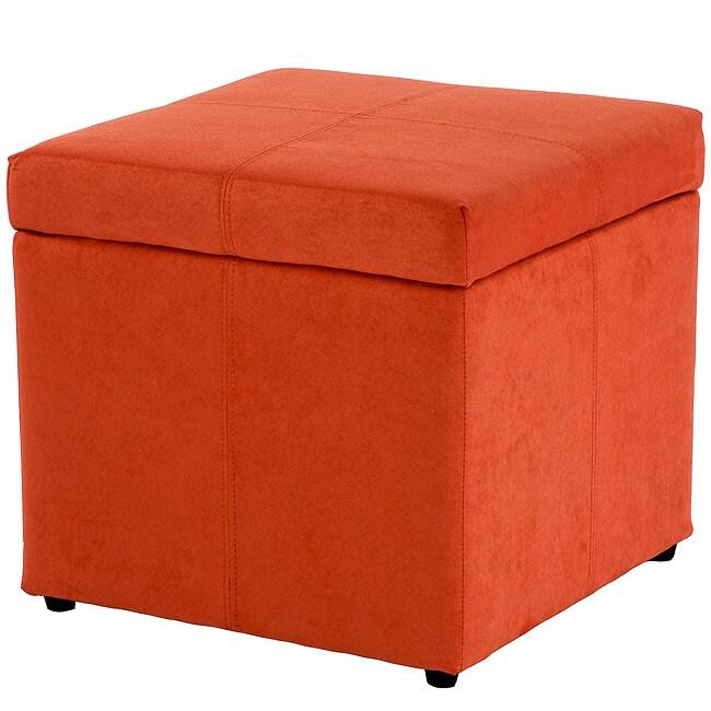 Square Orange Microfiber Cube Storage Ottoman