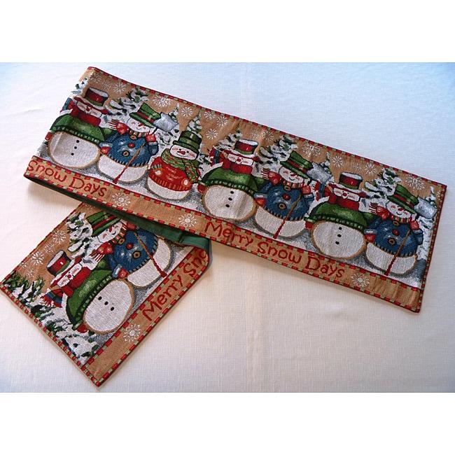 Merry Snowman Tapestry Table Runner