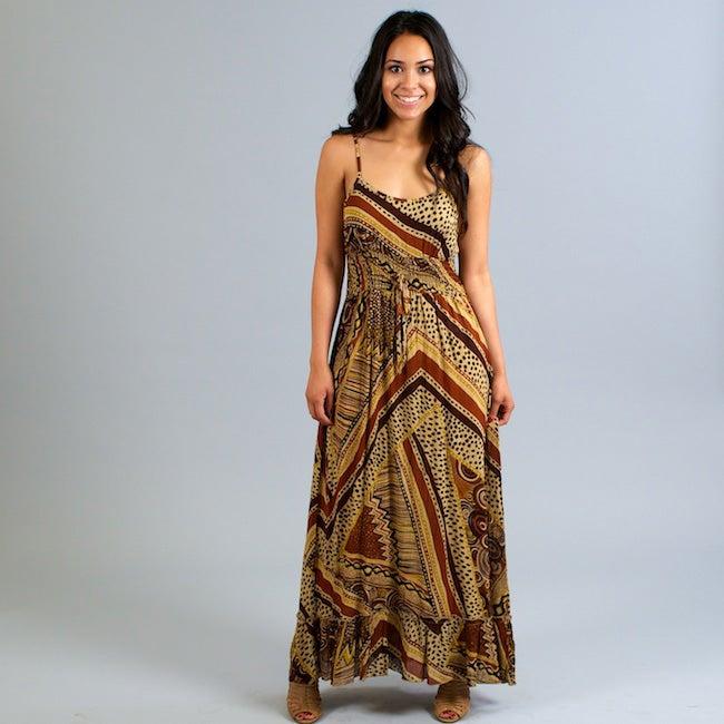 Mlle Gabrielle Women's Tan Printed Crepe Maxi Dress