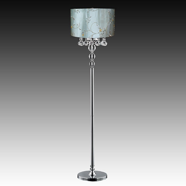 Bistro Oval Shade Crystal Ball 3-light Floor Lamp