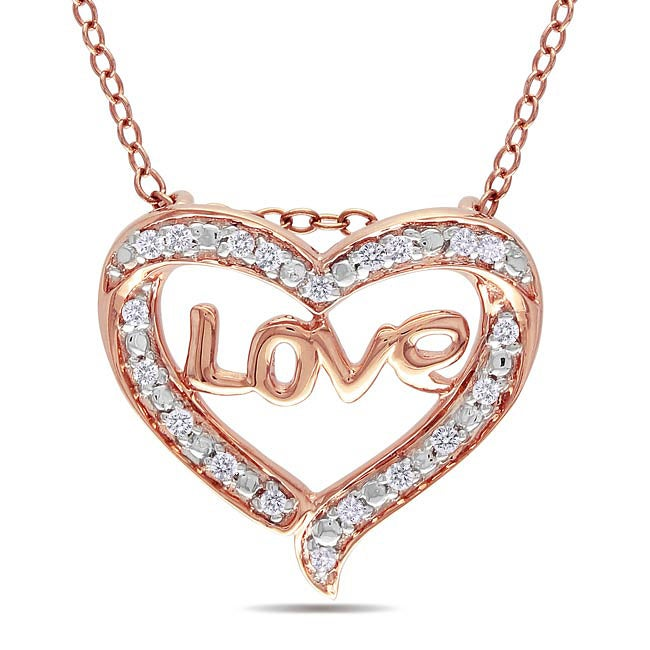 10k Pink Gold 1/10ct TDW Diamond Heart Necklace (G-H, I2-I3)