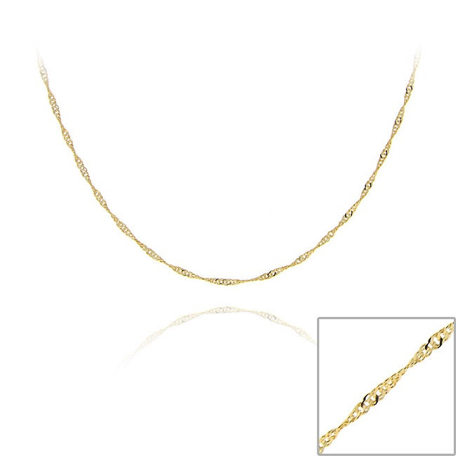 Mondevio 18k Gold Over Sterling Silver 24-inch Singapore Chain Necklace