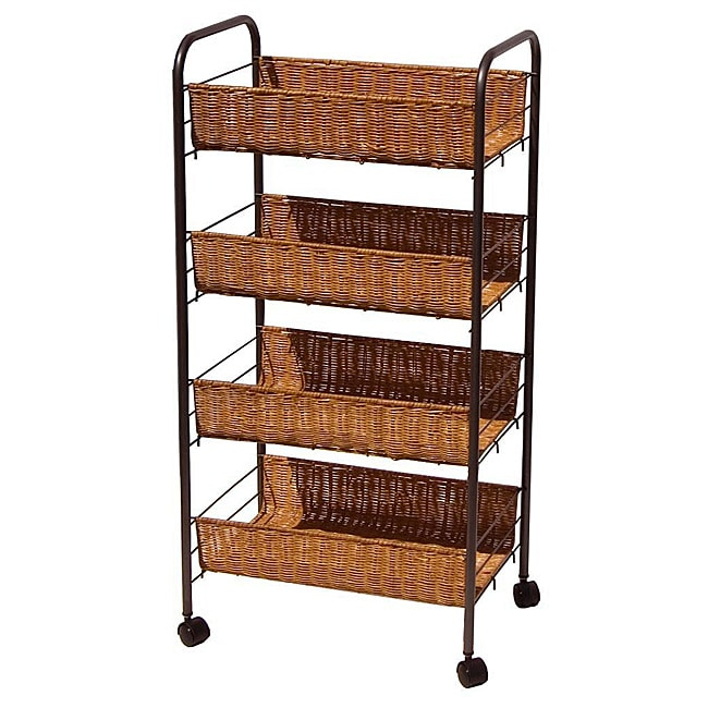 Wicker 4-tier Storage Cart