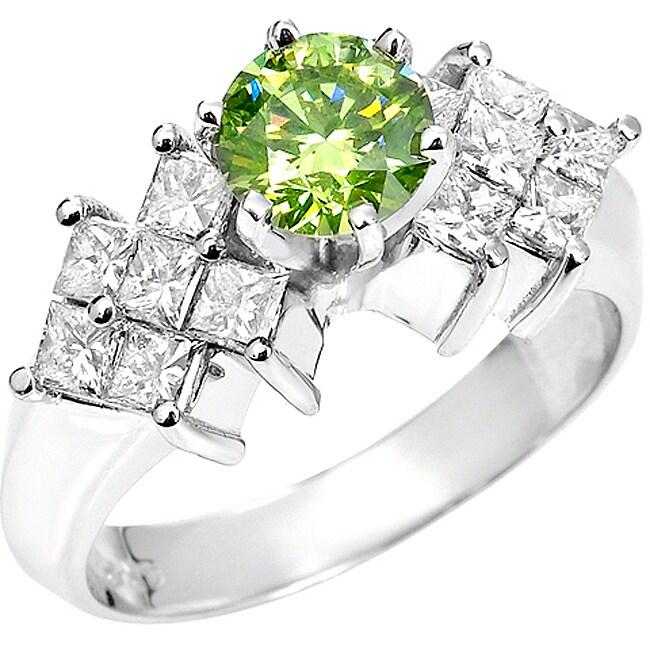 14k White Gold 1 5/8 ct TDW Green and White Diamond Ring (SI2, VS2)