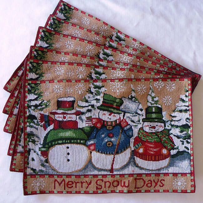 Tapestry Merry Snowman Place Mats (Set of 6)