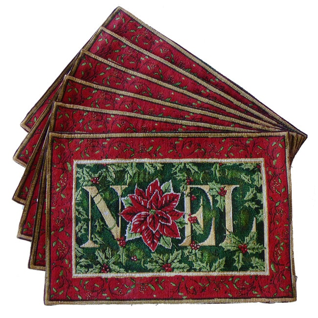 Tapestry 'Noel' Rectangular Place Mats (Set of 6)