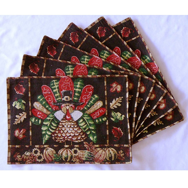 Tapestry Thanksgiving Celebration Place Mats (Set of 6)