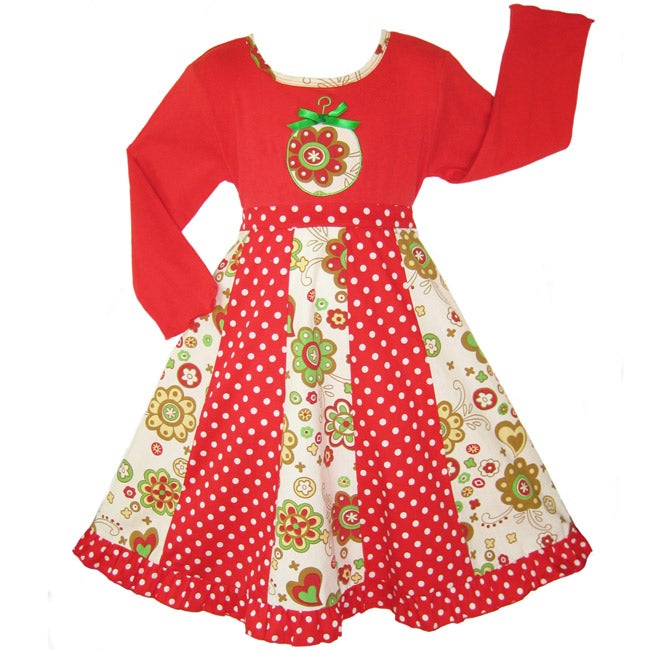 AnnLoren Girls Red & Green Dress