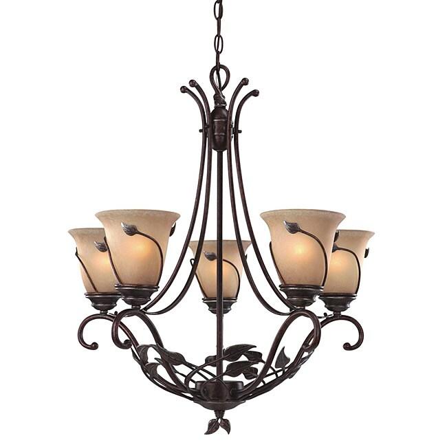 Transitional Leaf Design Five Light Chandelier