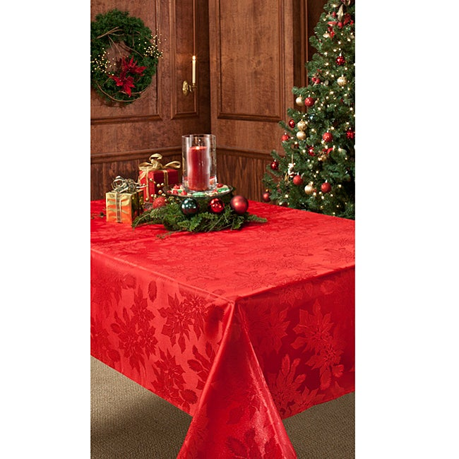 Poinsettia Damask 60x120-inch Rectangular Red Tablecloth